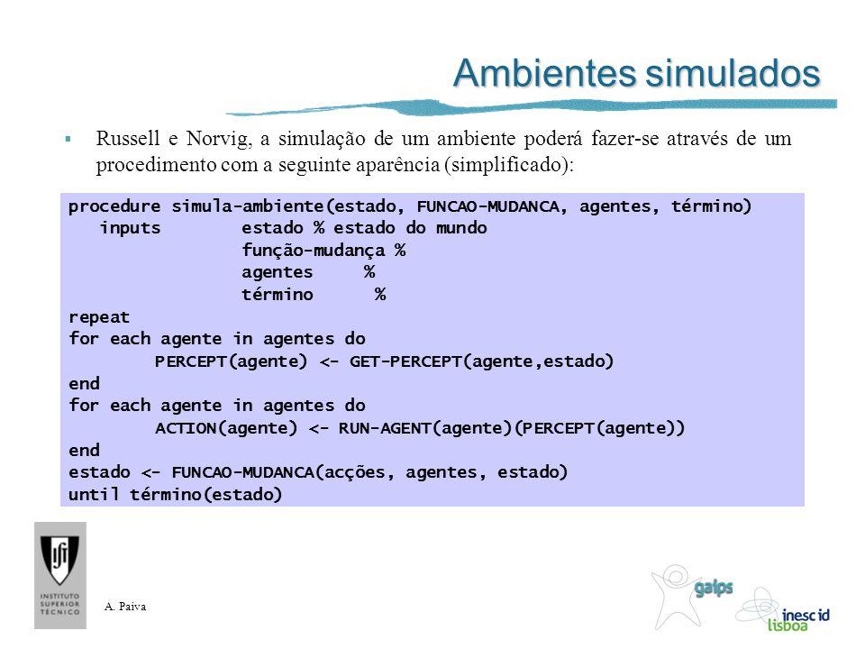 A. Paiva Ambientes simulados Russell e Norvig, a simulação de um ambiente poderá fazer-se através de um procedimento com a seguinte aparência (simplif