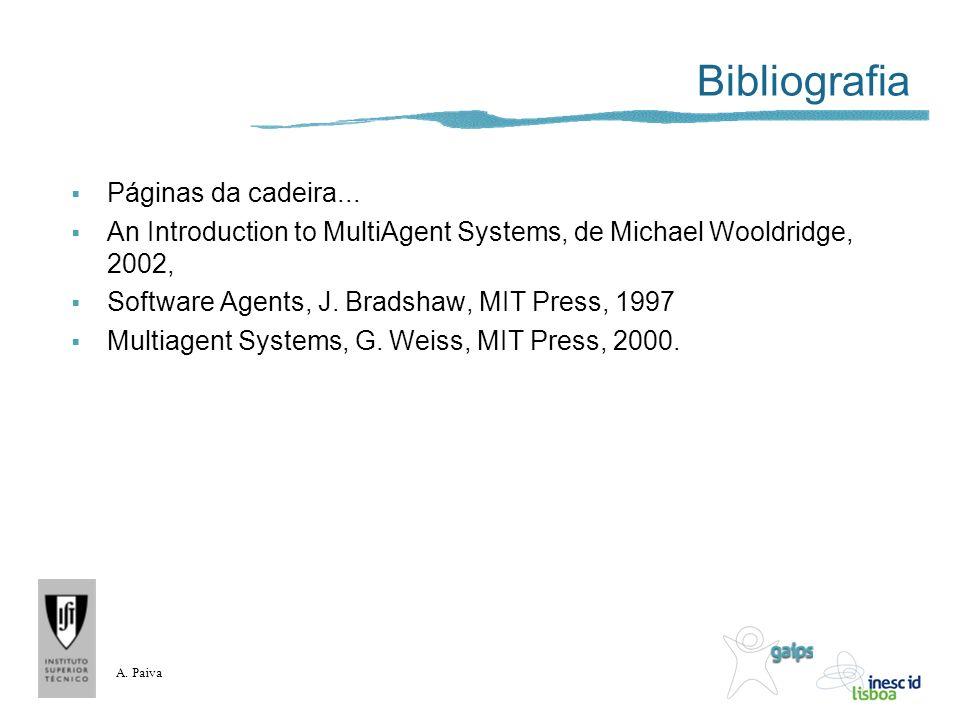 A. Paiva Bibliografia Páginas da cadeira... An Introduction to MultiAgent Systems, de Michael Wooldridge, 2002, Software Agents, J. Bradshaw, MIT Pres