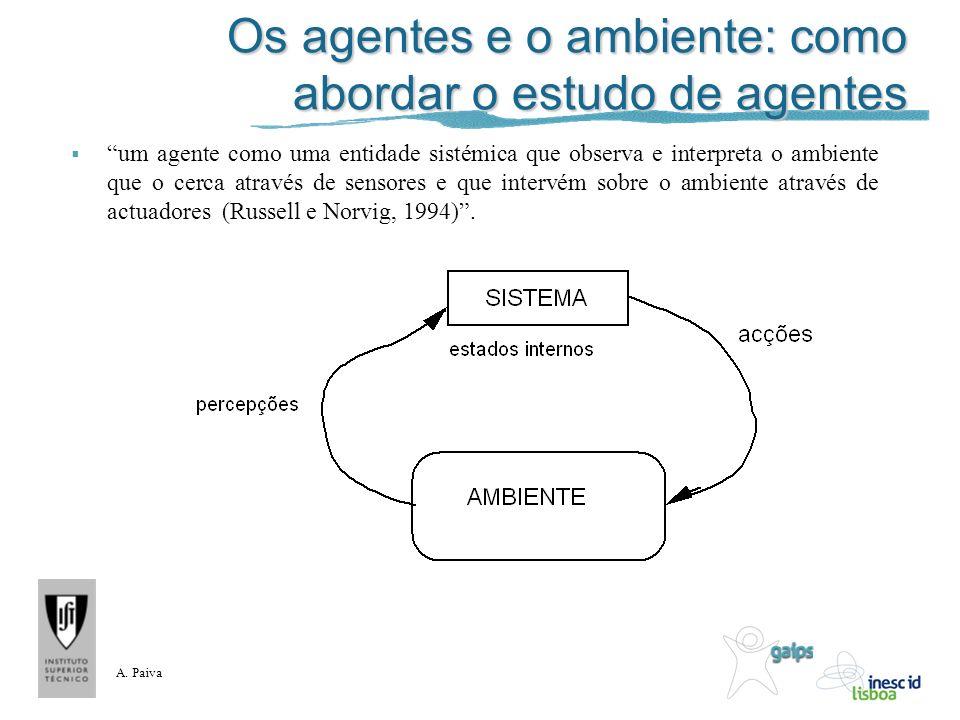 A. Paiva Os agentes e o ambiente: como abordar o estudo de agentes um agente como uma entidade sistémica que observa e interpreta o ambiente que o cer