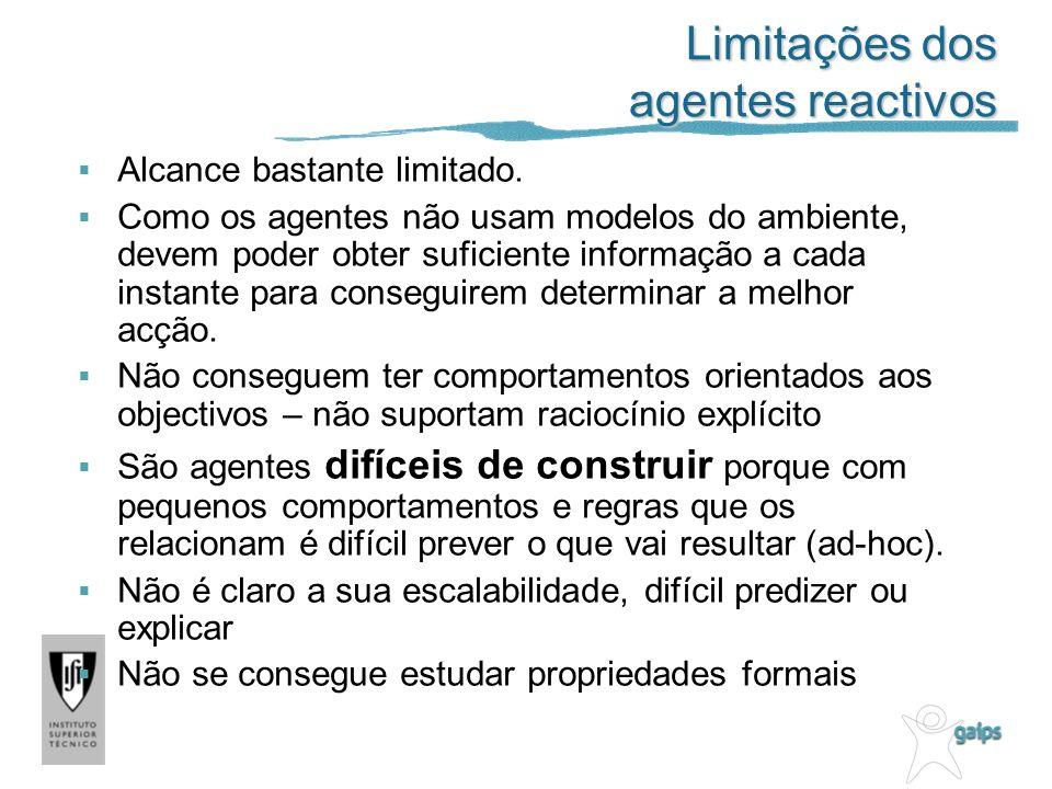 Limitações dos agentes reactivos Alcance bastante limitado.