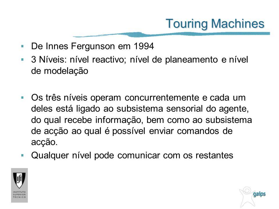 Touring Machines De Innes Fergunson em 1994 3 Níveis: nível reactivo; nível de planeamento e nível de modelação Os três níveis operam concurrentemente e cada um deles está ligado ao subsistema sensorial do agente, do qual recebe informação, bem como ao subsistema de acção ao qual é possível enviar comandos de acção.
