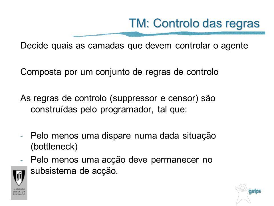 TM: Controlo das regras Decide quais as camadas que devem controlar o agente Composta por um conjunto de regras de controlo As regras de controlo (suppressor e censor) são construídas pelo programador, tal que: - Pelo menos uma dispare numa dada situação (bottleneck) - Pelo menos uma acção deve permanecer no subsistema de acção.