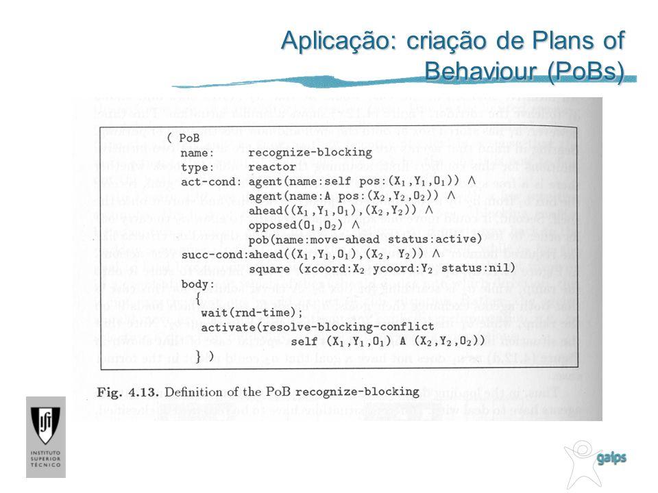 Aplicação: criação de Plans of Behaviour (PoBs)