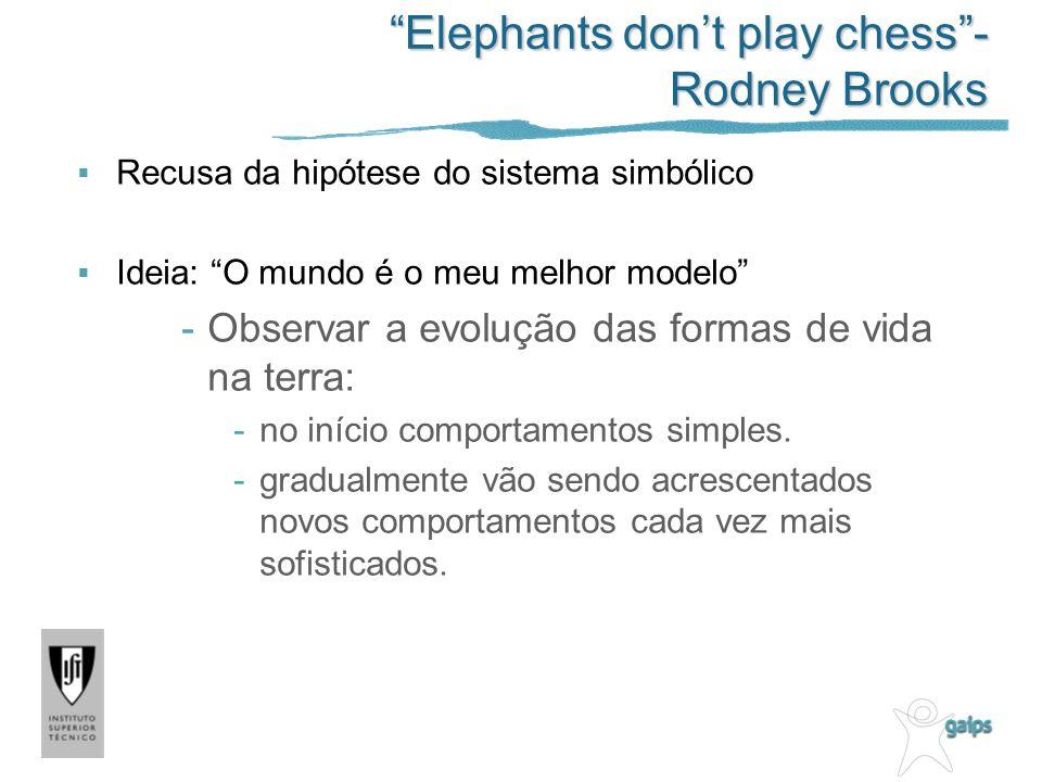 Elephants dont play chess- Rodney Brooks Recusa da hipótese do sistema simbólico Ideia: O mundo é o meu melhor modelo -Observar a evolução das formas de vida na terra: -no início comportamentos simples.