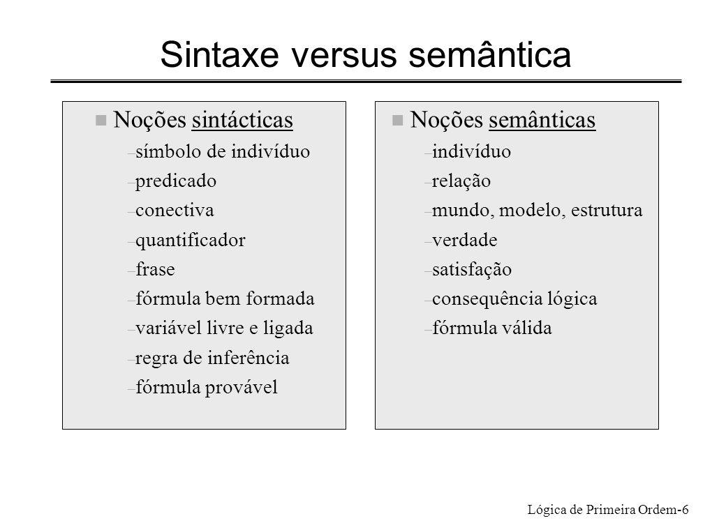 Lógica de Primeira Ordem-6 Sintaxe versus semântica n Noções semânticas – indivíduo – relação – mundo, modelo, estrutura – verdade – satisfação – cons