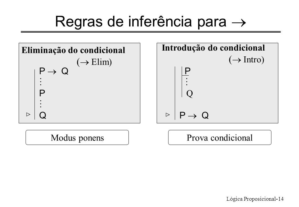 Lógica Proposicional-14 Regras de inferência para Eliminação do condicional ( Elim) P Q P Q Introdução do condicional ( Intro) P Q P Q Prova condicion