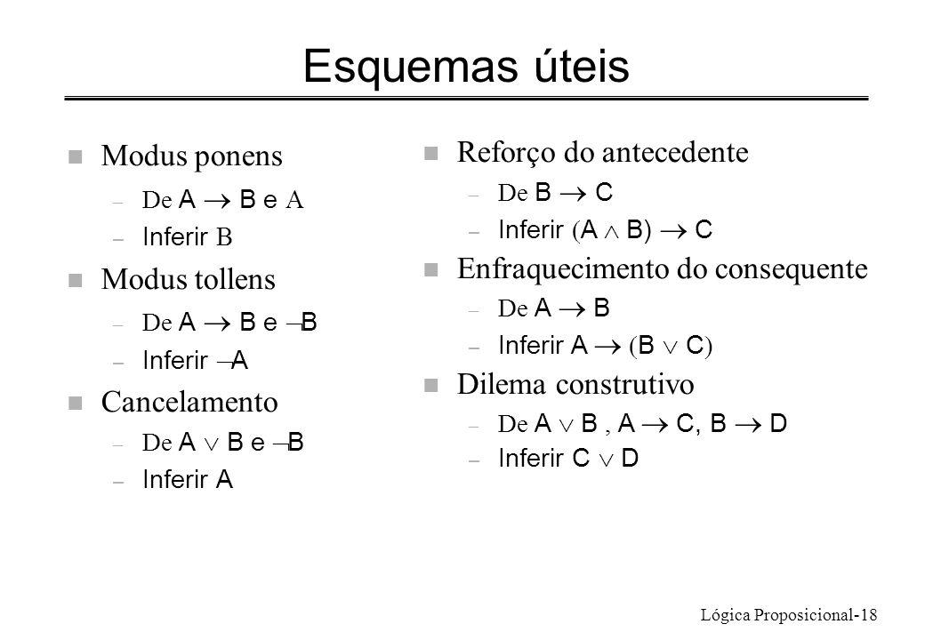 Lógica Proposicional-18 Esquemas úteis n Modus ponens – De A B e – Inferir n Modus tollens – De A B e B – Inferir A n Cancelamento – De A B e B – Inferir A n Reforço do antecedente – De B C – Inferir A B) C n Enfraquecimento do consequente – De A B – Inferir A B C n Dilema construtivo – De A B, A C, B D – Inferir C D