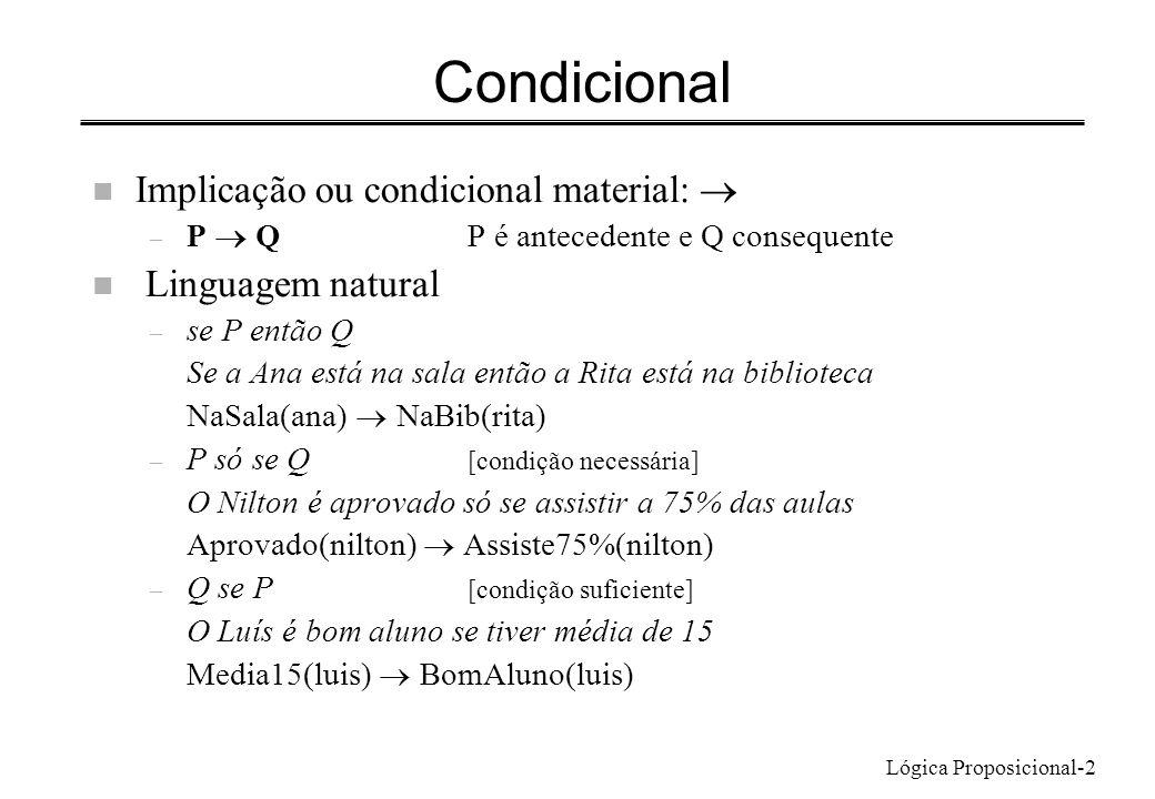 Lógica Proposicional-2 Condicional Implicação ou condicional material: – P Q P é antecedente e Q consequente n Linguagem natural – se P então Q Se a Ana está na sala então a Rita está na biblioteca NaSala(ana) NaBib(rita) – P só se Q [condição necessária] O Nilton é aprovado só se assistir a 75% das aulas Aprovado(nilton) Assiste75%(nilton) – Q se P [condição suficiente] O Luís é bom aluno se tiver média de 15 Media15(luis) BomAluno(luis)