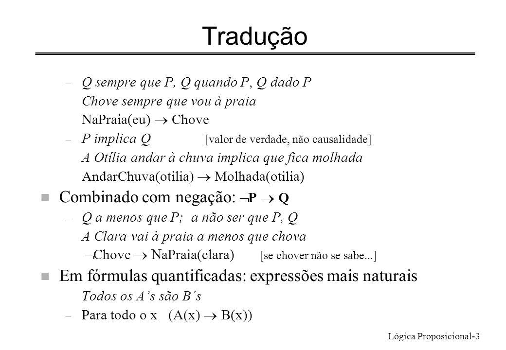 Lógica Proposicional-3 Tradução – Q sempre que P, Q quando P, Q dado P Chove sempre que vou à praia NaPraia(eu) Chove – P implica Q [valor de verdade,