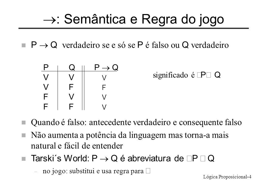 Lógica Proposicional-4 : Semântica e Regra do jogo P Q verdadeiro se e só se P é falso ou Q verdadeiro PQP Q VV V VF F FV V FF V significado é P Q n Quando é falso: antecedente verdadeiro e consequente falso Não aumenta a potência da linguagem mas torna-a mais natural e fácil de entender Tarski´s World: P Q é abreviatura de P Q – no jogo: substitui e usa regra para