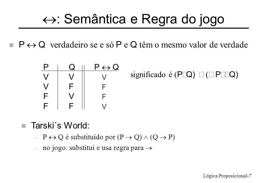 Lógica Proposicional-7 : Semântica e Regra do jogo P Q verdadeiro se e só P e Q têm o mesmo valor de verdade PQP Q VV V VF F FV F FF V significado é P Q) P Q) n Tarski´s World: – P Q é substituído por P Q) Q P) – no jogo: substitui e usa regra para