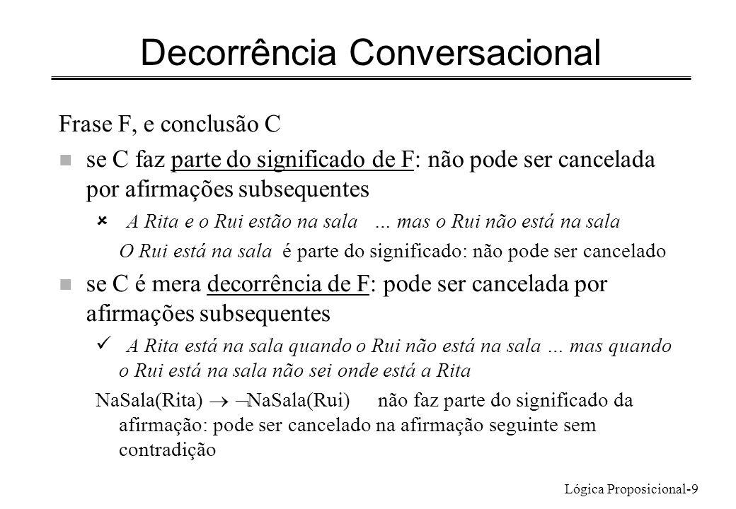 Lógica Proposicional-9 Decorrência Conversacional Frase F, e conclusão C n se C faz parte do significado de F: não pode ser cancelada por afirmações s