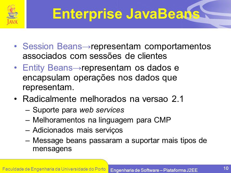 Faculdade de Engenharia da Universidade do Porto Engenharia de Software – Plataforma J2EE 10 Enterprise JavaBeans Session Beansrepresentam comportamen