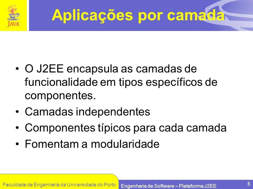 Faculdade de Engenharia da Universidade do Porto Engenharia de Software – Plataforma J2EE 5 Aplicações por camada O J2EE encapsula as camadas de funci