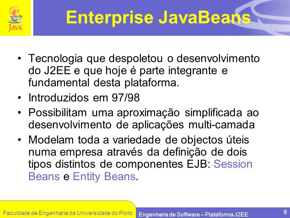 Faculdade de Engenharia da Universidade do Porto Engenharia de Software – Plataforma J2EE 9 Enterprise JavaBeans Tecnologia que despoletou o desenvolv