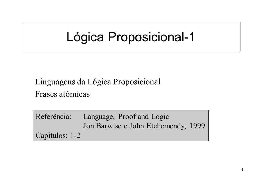 1 Lógica Proposicional-1 Linguagens da Lógica Proposicional Frases atómicas Referência: Language, Proof and Logic Jon Barwise e John Etchemendy, 1999