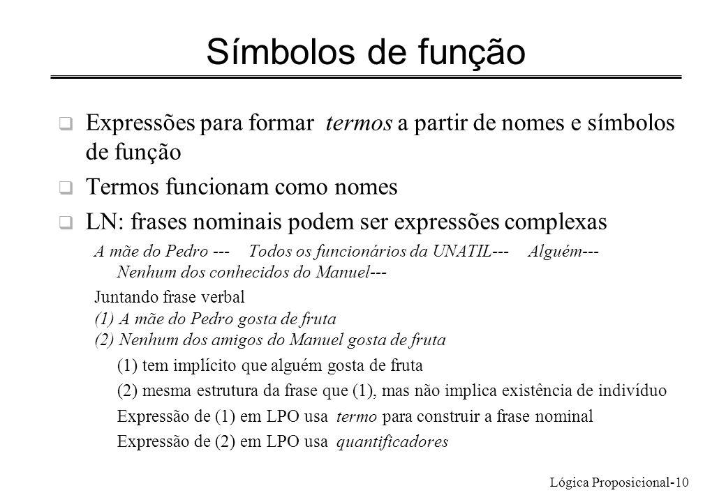 Lógica Proposicional-10 Símbolos de função Expressões para formar termos a partir de nomes e símbolos de função Termos funcionam como nomes LN: frases