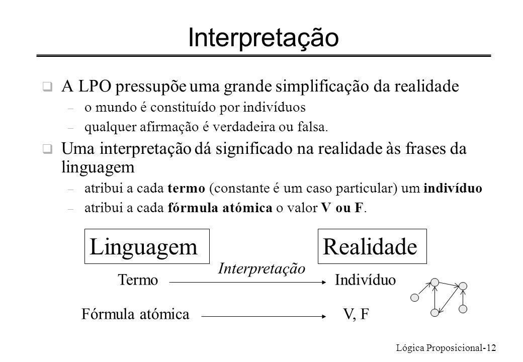 Lógica Proposicional-12 Interpretação A LPO pressupõe uma grande simplificação da realidade – o mundo é constituído por indivíduos – qualquer afirmaçã
