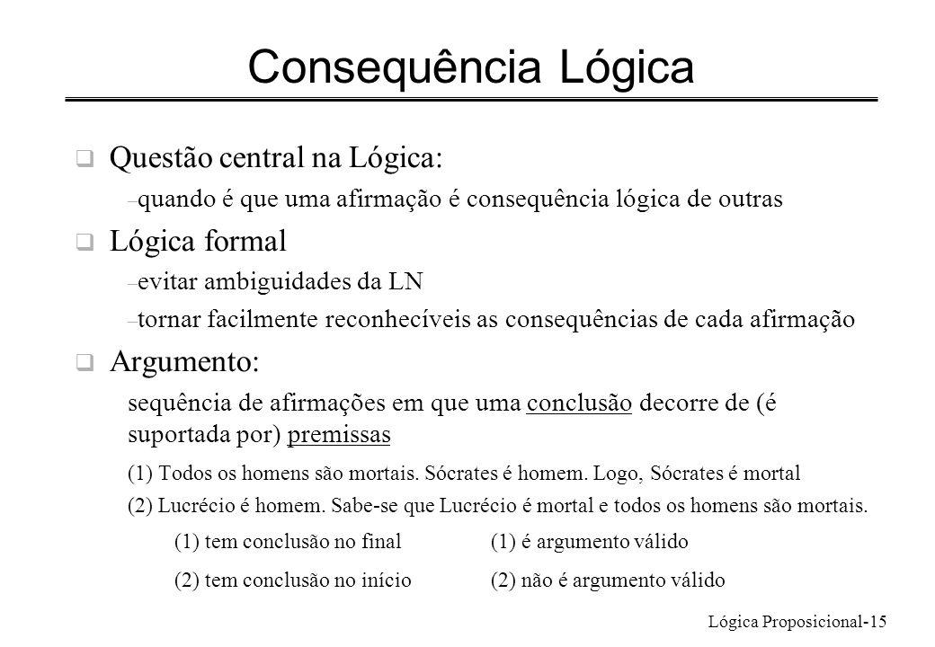 Lógica Proposicional-15 Consequência Lógica Questão central na Lógica: – quando é que uma afirmação é consequência lógica de outras Lógica formal – ev