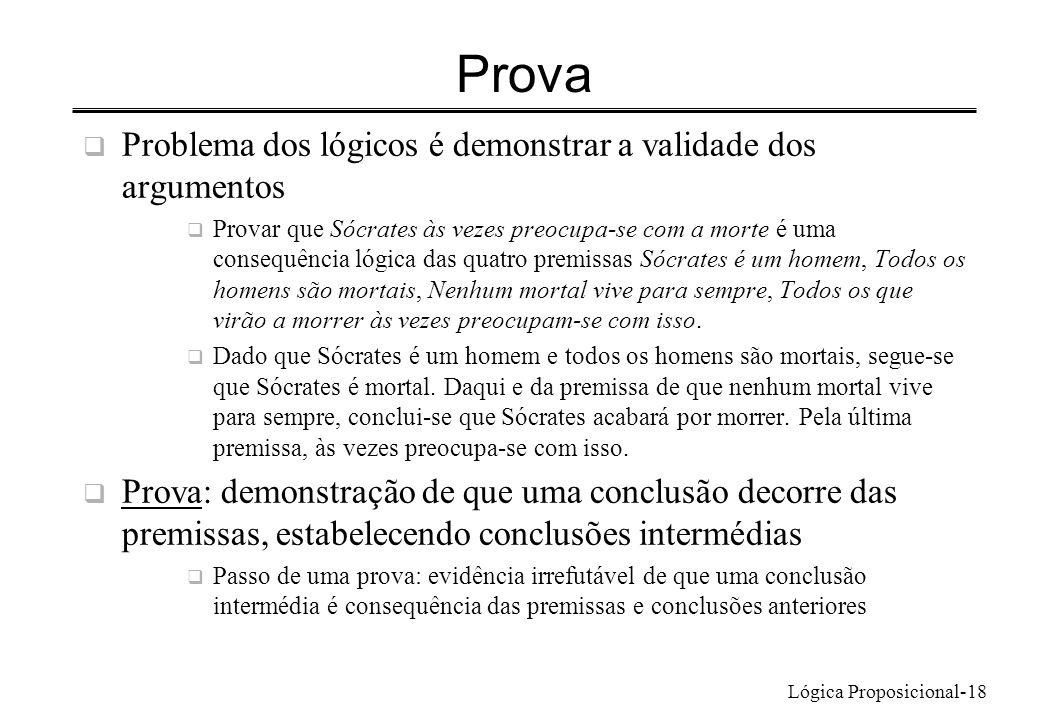 Lógica Proposicional-18 Prova Problema dos lógicos é demonstrar a validade dos argumentos Provar que Sócrates às vezes preocupa-se com a morte é uma c
