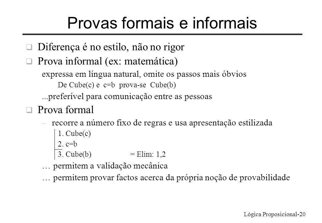Lógica Proposicional-20 Provas formais e informais Diferença é no estilo, não no rigor Prova informal (ex: matemática) expressa em língua natural, omi