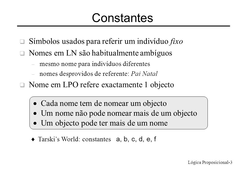 Lógica Proposicional-3 Símbolos usados para referir um indivíduo fixo Nomes em LN são habitualmente ambíguos – mesmo nome para indivíduos diferentes –