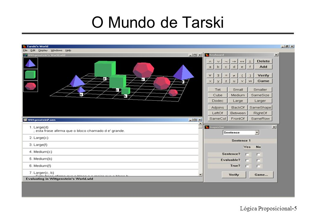 Lógica Proposicional-5 O Mundo de Tarski