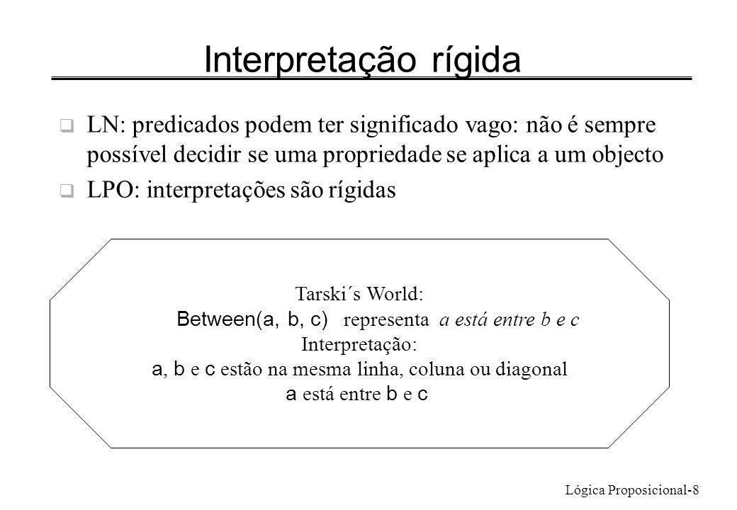 Lógica Proposicional-9 Linguagem de 1ª Ordem da Teoria de Conjuntos Predicados: = (identidade) e (pertença a conjunto) usual é notação infixa Fórmulas atómicas a=b a b - verdadeiro se b é conjunto e a um seu membro – Exemplo: a a False a b True b a False b b False a é 2 b é {2, 4, 6} Fórmulas atómicas na linguagem dos conjuntos: valor de verdade fica fixado quando se fixa a referência dos nomes Fórmulas atómicas no Tarski´s World: pode mudar de V para F movendo objectos: LeftOf(a,b)