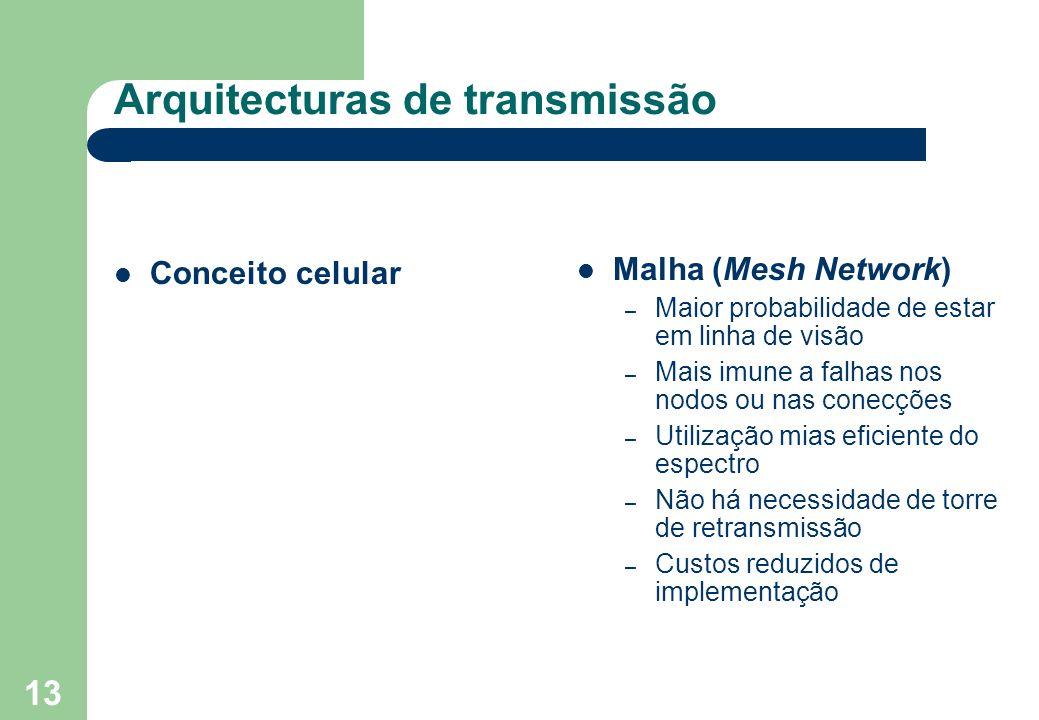 13 Arquitecturas de transmissão Conceito celular Malha (Mesh Network) – Maior probabilidade de estar em linha de visão – Mais imune a falhas nos nodos ou nas conecções – Utilização mias eficiente do espectro – Não há necessidade de torre de retransmissão – Custos reduzidos de implementação