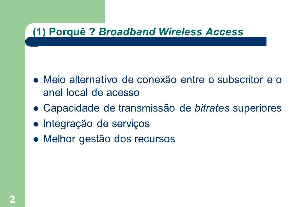 2 (1) Porquê ? Broadband Wireless Access Meio alternativo de conexão entre o subscritor e o anel local de acesso Capacidade de transmissão de bitrates
