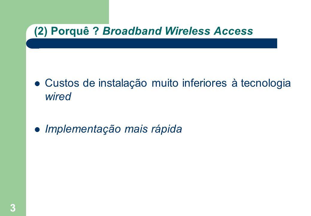 3 (2) Porquê ? Broadband Wireless Access Custos de instalação muito inferiores à tecnologia wired Implementação mais rápida