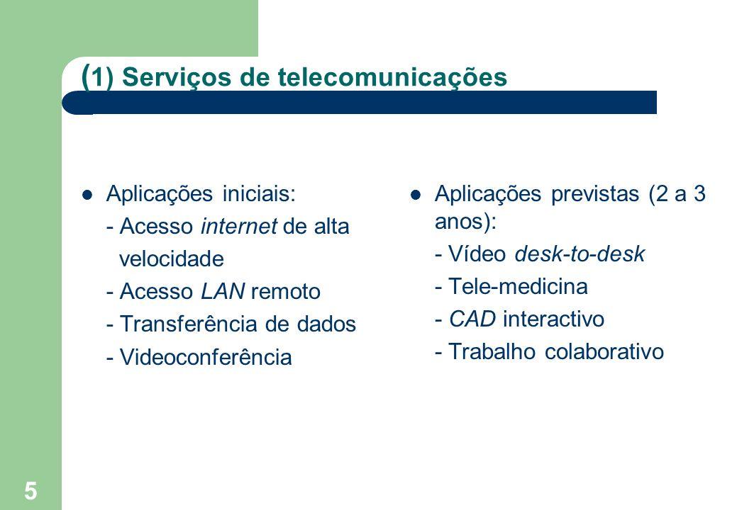 5 ( 1) Serviços de telecomunicações Aplicações iniciais: - Acesso internet de alta velocidade - Acesso LAN remoto - Transferência de dados - Videoconferência Aplicações previstas (2 a 3 anos): - Vídeo desk-to-desk - Tele-medicina - CAD interactivo - Trabalho colaborativo