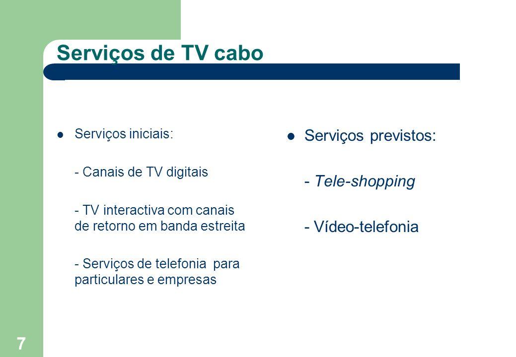 7 Serviços de TV cabo Serviços iniciais: - Canais de TV digitais - TV interactiva com canais de retorno em banda estreita - Serviços de telefonia para particulares e empresas Serviços previstos: - Tele-shopping - Vídeo-telefonia