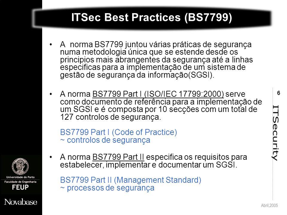 6 ITSec Best Practices (BS7799) A norma BS7799 juntou várias práticas de segurança numa metodologia única que se estende desde os principios mais abrangentes da segurança até a linhas especificas para a implementação de um sistema de gestão de segurança da informação(SGSI).