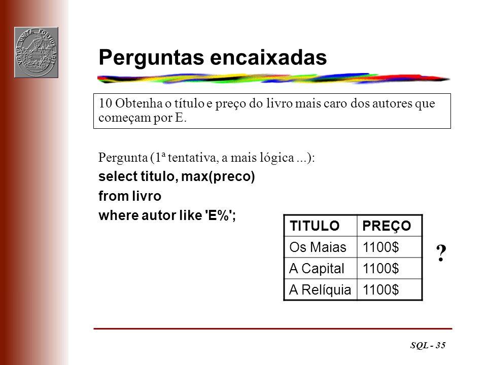 SQL - 35 Perguntas encaixadas Pergunta (1ª tentativa, a mais lógica...): select titulo, max(preco) from livro where autor like 'E%'; 10 Obtenha o títu