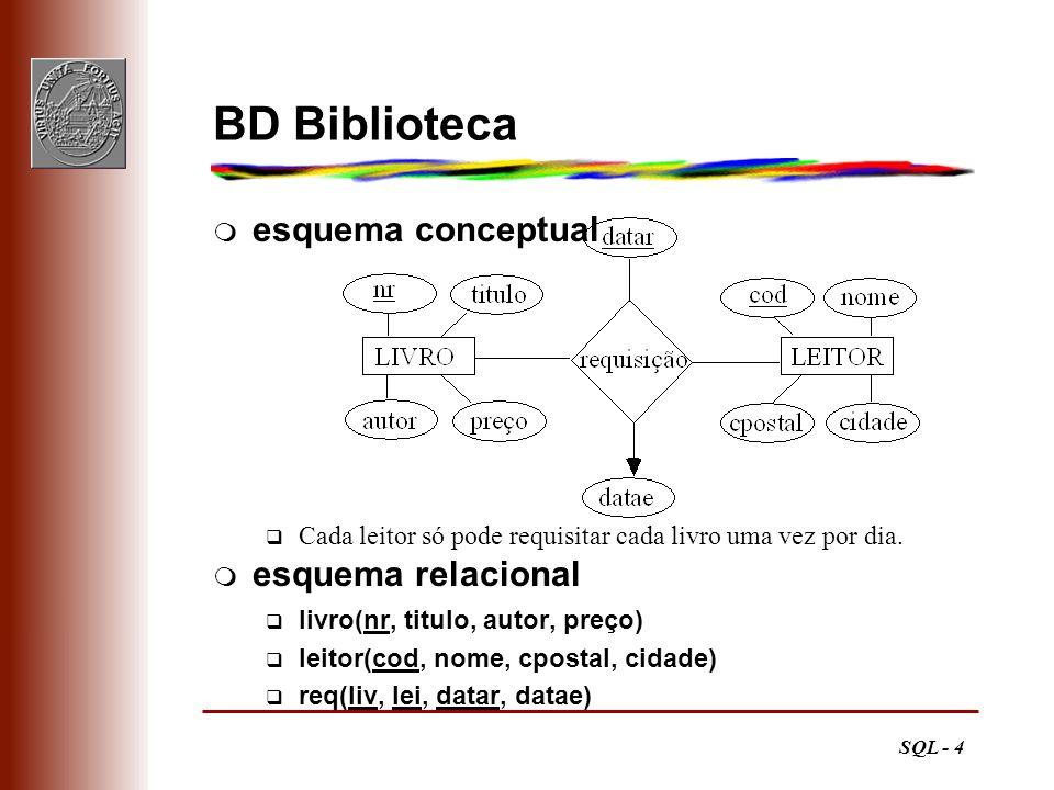 SQL - 4 BD Biblioteca esquema conceptual q Cada leitor só pode requisitar cada livro uma vez por dia. esquema relacional livro(nr, titulo, autor, preç