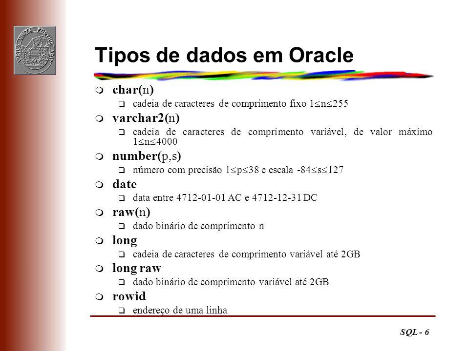 SQL - 6 Tipos de dados em Oracle m char(n) q cadeia de caracteres de comprimento fixo 1 n 255 m varchar2(n) q cadeia de caracteres de comprimento vari
