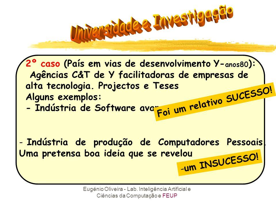 Eugénio Oliveira - Lab. Inteligência Artificial e Ciências da Computação e FEUP 2º caso (País em vias de desenvolvimento Y- anos80 ): Agências C&T de