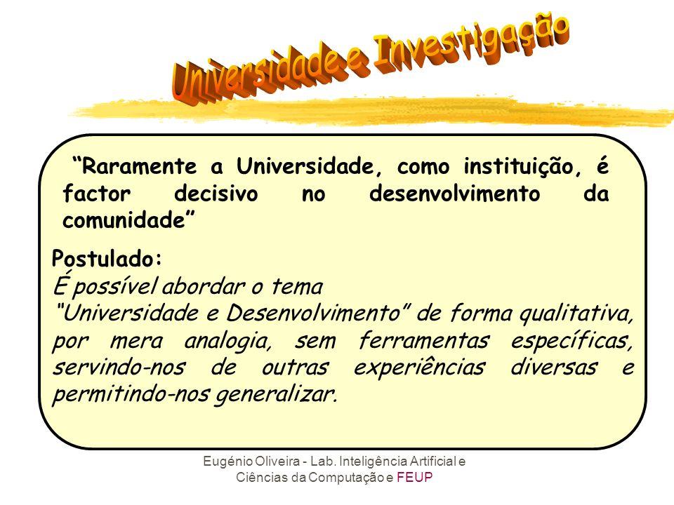 Eugénio Oliveira - Lab. Inteligência Artificial e Ciências da Computação e FEUP Raramente a Universidade, como instituição, é factor decisivo no desen