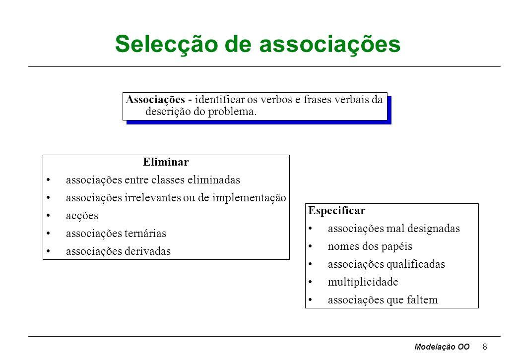 Modelação OO28 Documentos da metodologia ADocumento da Análise A0Formulação do problema A1Modelo de objectos = diagrama de objectos + dicionário de dados A2Modelo dinâmico = diagramas de estado + diagrama global de fluxo de eventos A3Modelo funcional = diagramas de fluxo de dados + restrições PSDocumento do Projecto de Sistema –estrutura da arquitectura básica do sistema e decisões estratégicas de alto nível PDocumento do Projecto = P1modelo de objectos detalhado + P2modelo dinâmico detalhado + P3modelo funcional detalhado