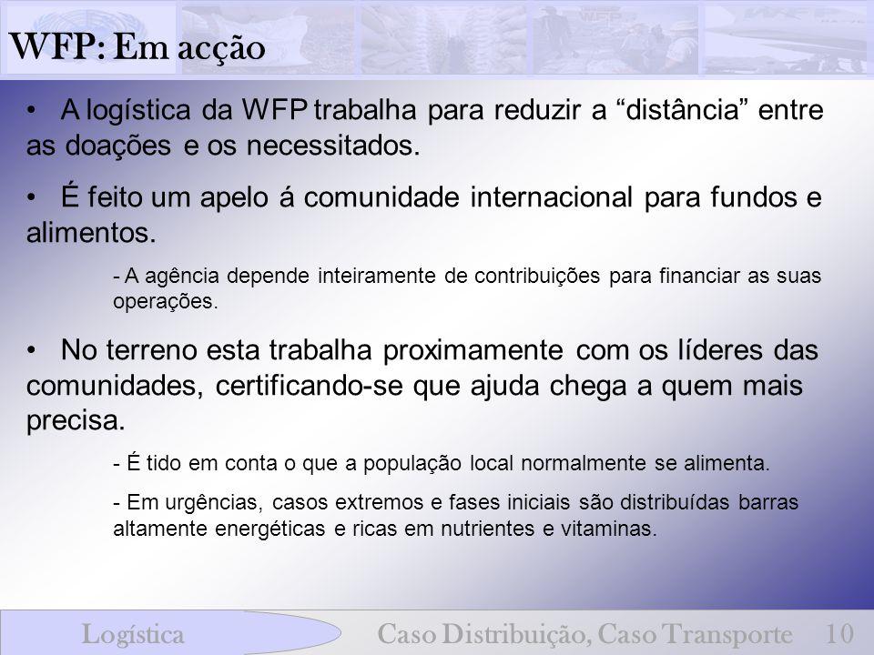 WFP: Em acção A logística da WFP trabalha para reduzir a distância entre as doações e os necessitados. É feito um apelo á comunidade internacional par