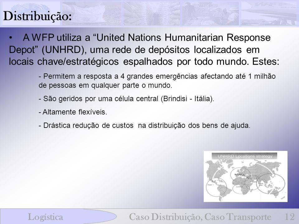 Distribuição: A WFP utiliza a United Nations Humanitarian Response Depot (UNHRD), uma rede de depósitos localizados em locais chave/estratégicos espal