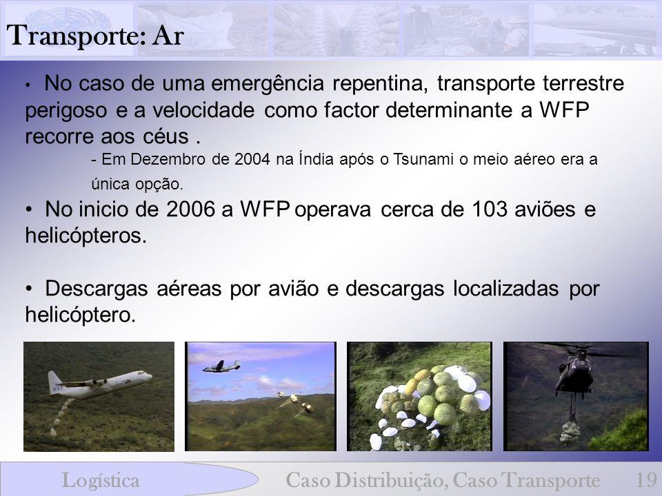 Transporte: Ar LogísticaCaso Distribuição, Caso Transporte19 No caso de uma emergência repentina, transporte terrestre perigoso e a velocidade como fa