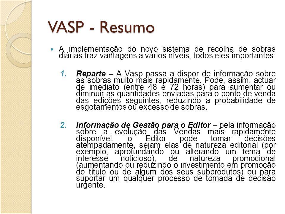 VASP - Resumo A implementação do novo sistema de recolha de sobras diárias traz vantagens a vários níveis, todos eles importantes: 1.Reparte – A Vasp