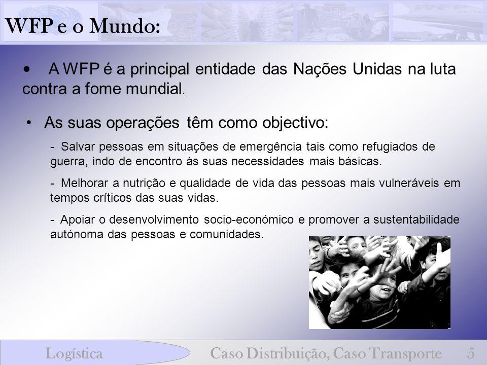 WFP e o Mundo: LogísticaCaso Distribuição, Caso Transporte5 A WFP é a principal entidade das Nações Unidas na luta contra a fome mundial. As suas oper