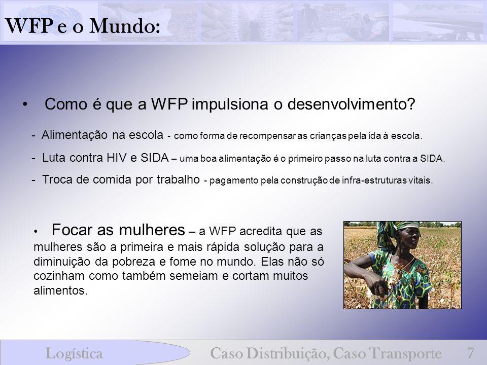 WFP e o Mundo: LogísticaCaso Distribuição, Caso Transporte7 Como é que a WFP impulsiona o desenvolvimento? - Alimentação na escola - como forma de rec
