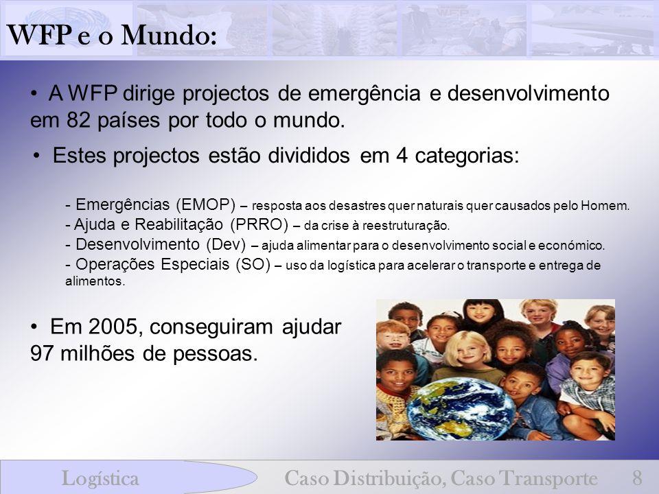 WFP e o Mundo: LogísticaCaso Distribuição, Caso Transporte8 A WFP dirige projectos de emergência e desenvolvimento em 82 países por todo o mundo. Este