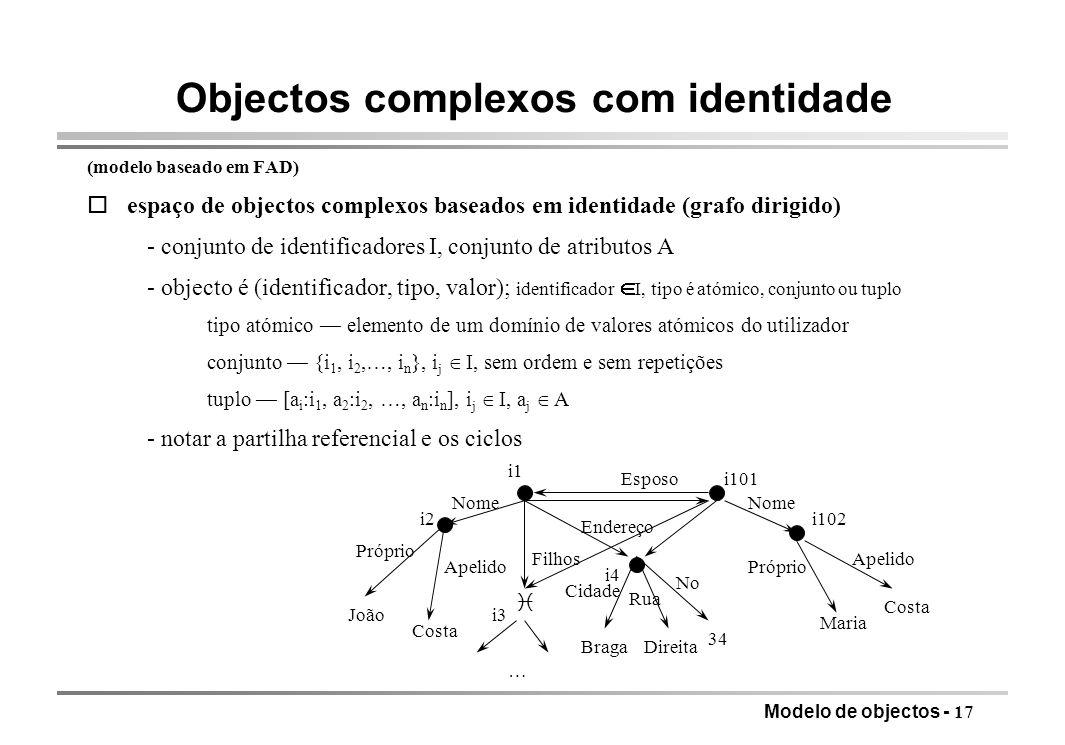 Modelo de objectos - 17 Objectos complexos com identidade (modelo baseado em FAD) oespaço de objectos complexos baseados em identidade (grafo dirigido