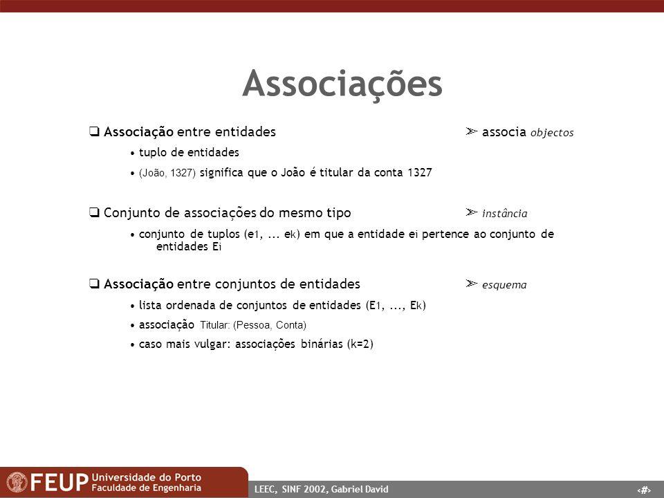 10 LEEC, SINF 2002, Gabriel David Associações Associação entre entidades associa objectos tuplo de entidades (João, 1327) significa que o João é titul