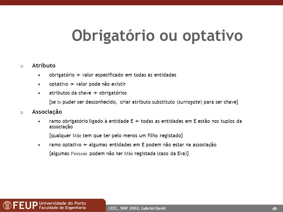 16 LEEC, SINF 2002, Gabriel David Obrigatório ou optativo q Atributo obrigatório valor especificado em todas as entidades optativo valor pode não exis